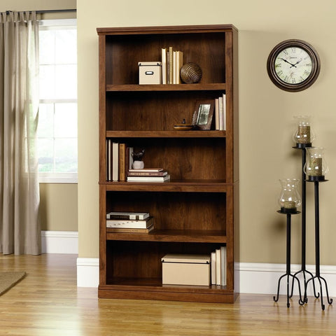 5-Shelf Bookcase in Oiled Oak Finish-Living Room > Bookcases-Loluxe