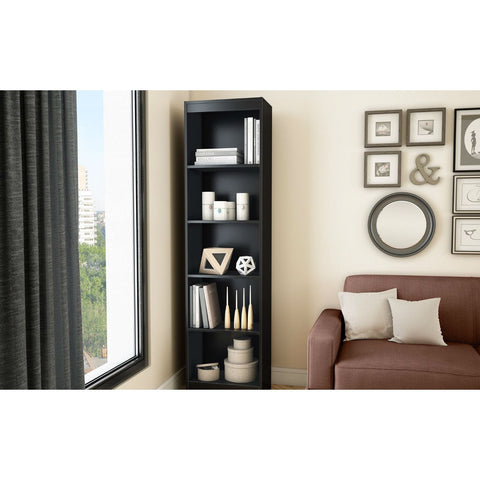 5-Shelf Narrow Bookcase Black Finish-Living Room > Bookcases-Loluxe