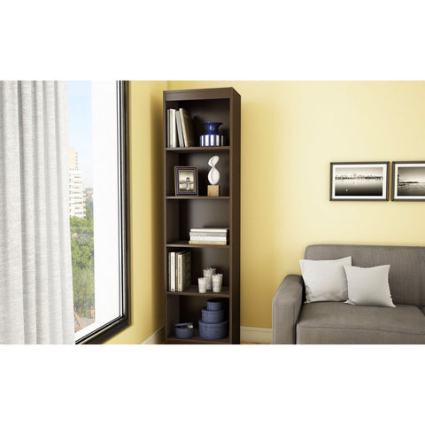 5-Shelf Narrow Bookcase in Chocolate Brown Finish-Living Room > Bookcases-Loluxe