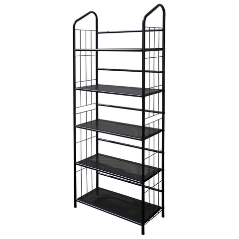 5-Tier Bookcase Storage Shelves Rack in Black Metal-Accents > Shelving Units-Loluxe