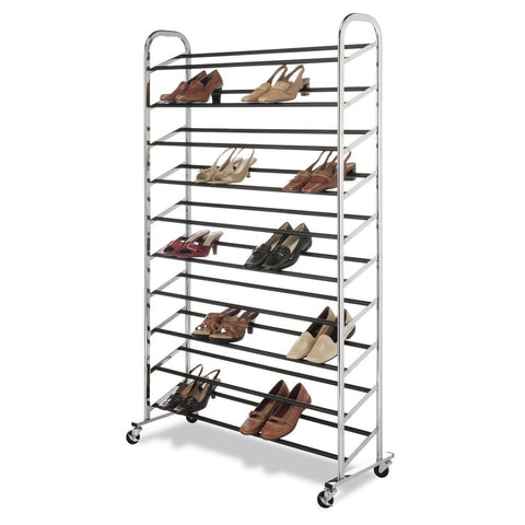 50 Pair Shoe Rack Tower in Chrome - Wheels Included-Accents > Shoe Racks-Loluxe