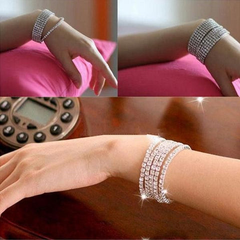 5pcs Silver Elastic Wedding Bridal Diamante Crystal Bracelet Bangle-Loluxe