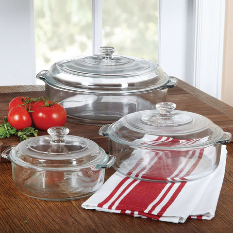 6-Piece Round Glass Casserole Cookware Bakeware Set with Lids-Kitchen > Cookware Sets-Loluxe