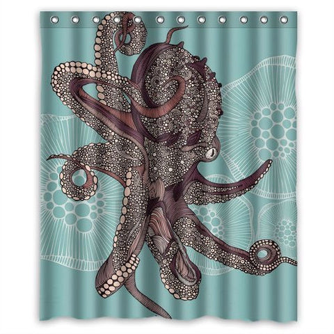 60 x 72 inch Water Proof Polyester Octopus Shower Curtain-Bathroom > Shower Curtains-Loluxe