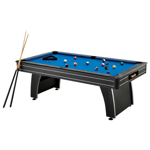 7 Ft Blue Top Pool Table with 2 Cues and Billiard Balls-Game Room > Pool Tables-Loluxe