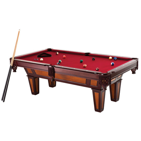 7 Ft Pool Table with Red Burgundy Wool Top and Fringe Drop Pockets-Game Room > Pool Tables-Loluxe