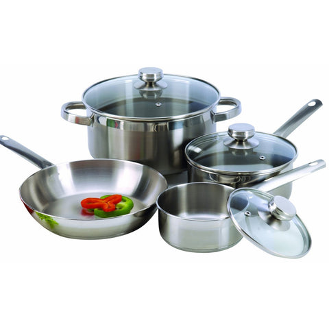 7-Piece Cookware Set Constructed in 18/10 Stainless Steel-Kitchen > Cookware Sets-Loluxe