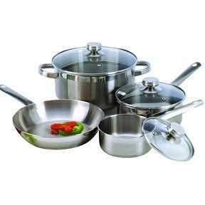 7-Piece Cookware Set Constructed in 18/10 Stainless Steel-Loluxe