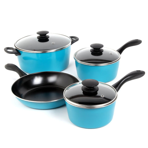 7-Piece Non-Stick Cookware Set in Teal Blue-Kitchen > Cookware Sets-Loluxe
