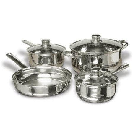 7-Piece Stainless Steel Cookware Set with Tempered Glass Lids-Kitchen > Cookware Sets-Loluxe