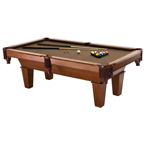 7Ft Brown Wool Cloth Top Pool Table with 2 Cues and Billiards Balls-Game Room > Pool Tables-Loluxe
