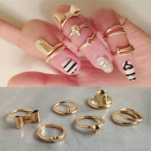 7pcs Gold Alloy Heart Bowknot Skull Joint Ring Nail Ring Jewelry-Loluxe