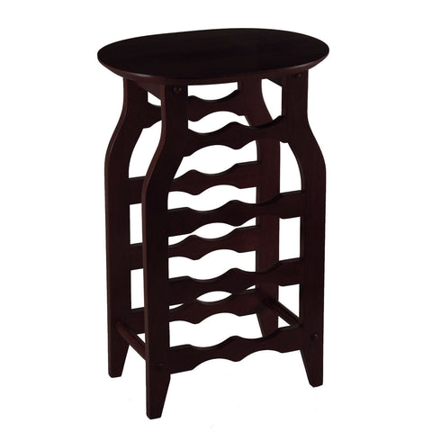8-Bottle Oval Wine Rack Side Table in Espresso-Kitchen > Wine Racks and Coolers-Loluxe