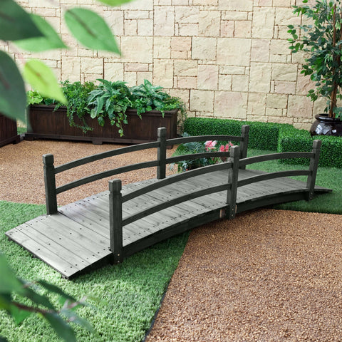 8-Ft Outdoor Garden Bridge with Handraisl in Weather Resistant Dark Wood Stain