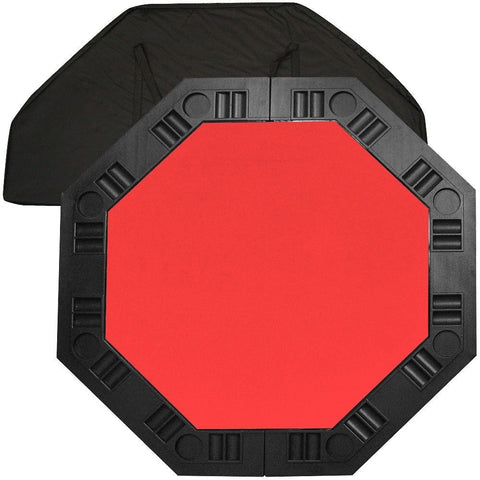 8-Player Octagon Poker Table Top with Red Felt Playing Surface and Cup Holders-Game Room > Poker Tables-Loluxe