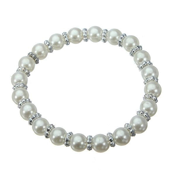 8mm White Black Elastic Stretch Imitation Pearl Bracelet-Loluxe