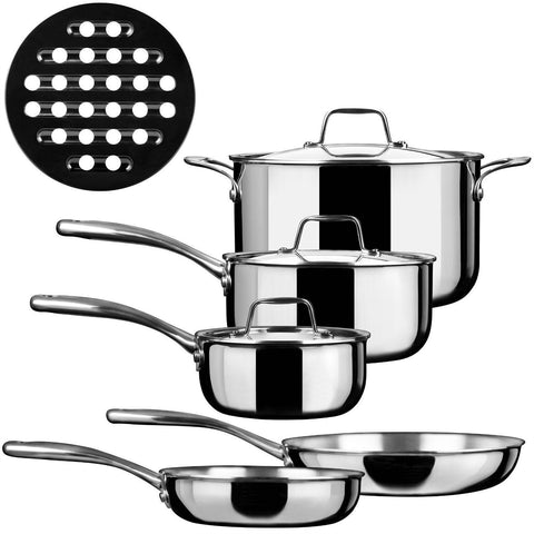 9-Piece Stainless Steel Induction Ready Cookware Set-Kitchen > Cookware Sets-Loluxe