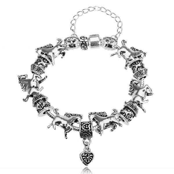 925 Silver Plated Chain Antique Animal Horse Bracelet Heart Pendant-Loluxe