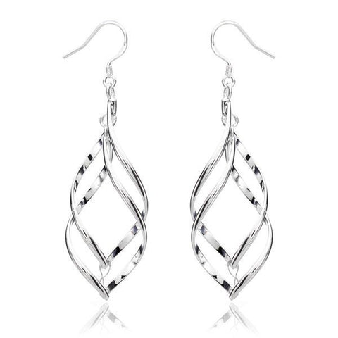 925 Silver Plated Earrings Double Banana Shape Ear Drop Jewelry-Loluxe