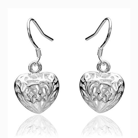 925 Silver Plated Hollow Heart Shaped Earrings Women Jewelry-Loluxe
