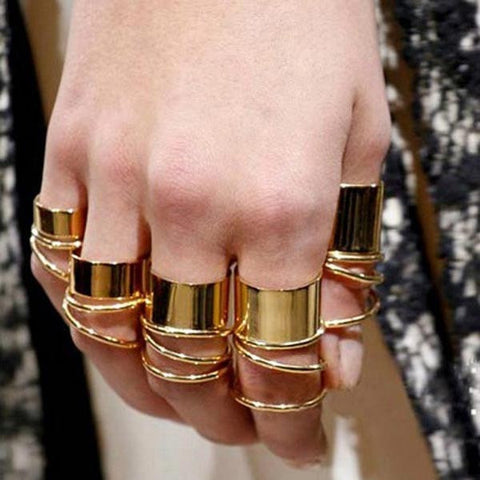 9pcs Heavy Metal Polishing Circle Glaze Finger Ring Gold Jewelry-Loluxe