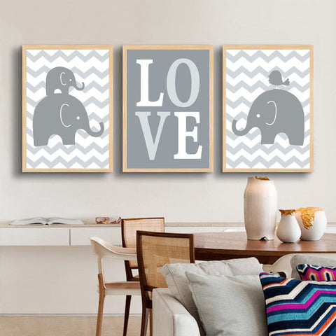 Cute Modern Elephant Love Nursery Child's Oil Wall Pictures 9 Designs 10 Sizes