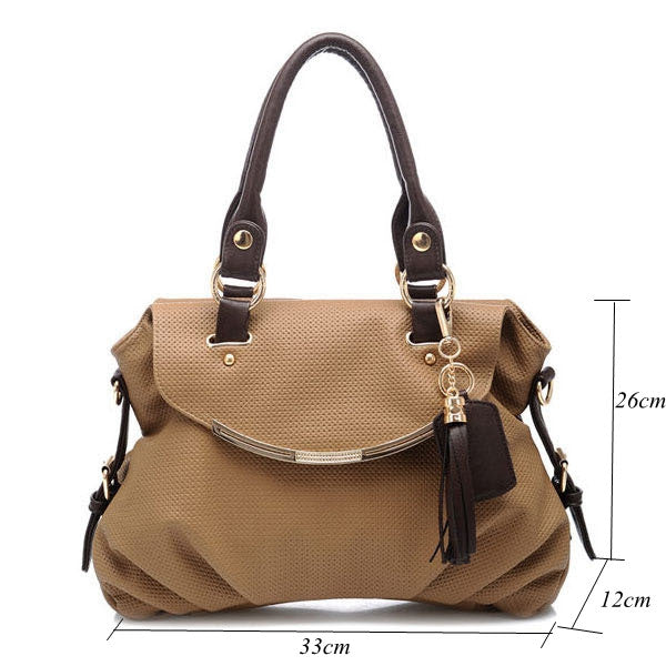 Women's Tassel-Accent PU Leather Quality Handbag 3 Colors