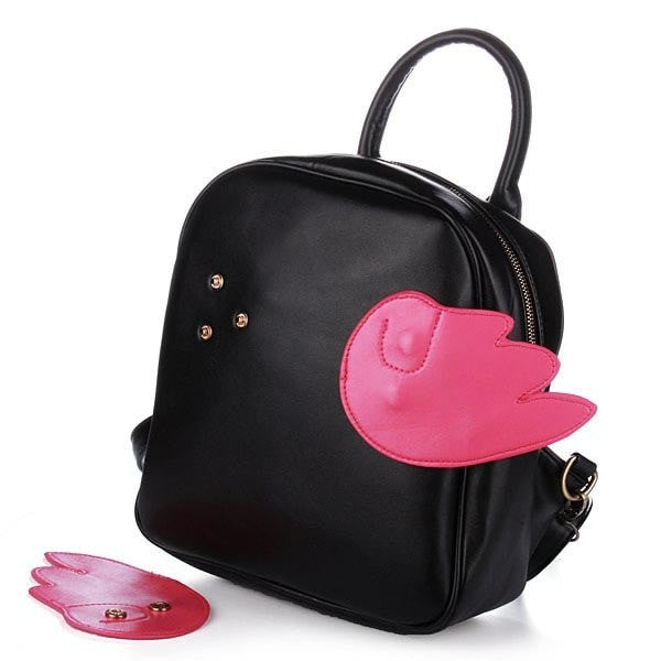 PU Leather Interchangeable Wings Student Backpack