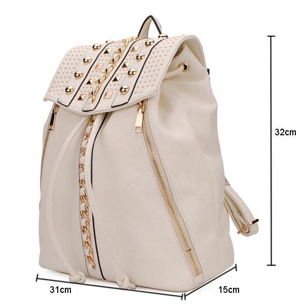 Ladies Rivet-Accent Leather Drawstring Backpack 2 Colors