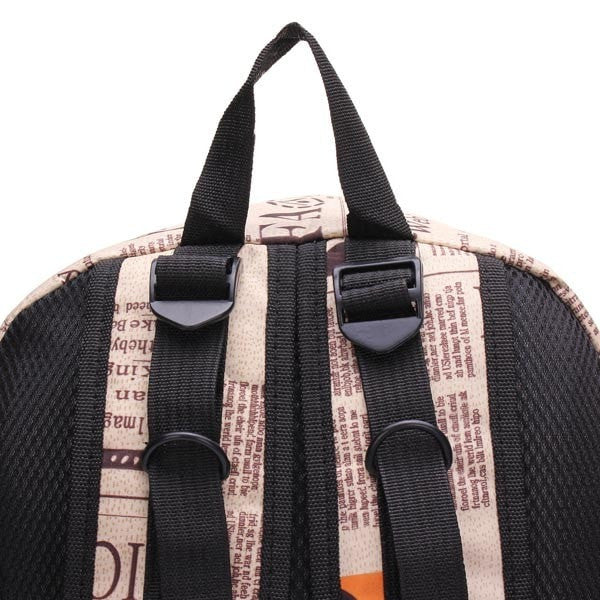 Newspaper-Print Canvas Schoolbag Backpack