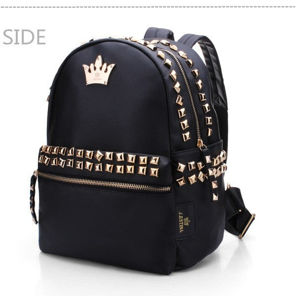 Ladies Black Rivet-Accent Crown PU Leather Backpack
