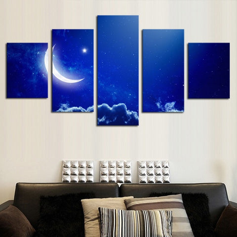 Abstract Blue Sky White Moon landscape Art 5 Piece Unframed-Loluxe