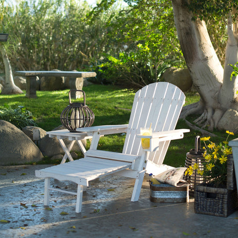 Adirondack Chair with Ottoman and Cup Holder in Whitewash Stained Fir Wood-Outdoor > Outdoor Furniture > Adirondack Chairs-Loluxe