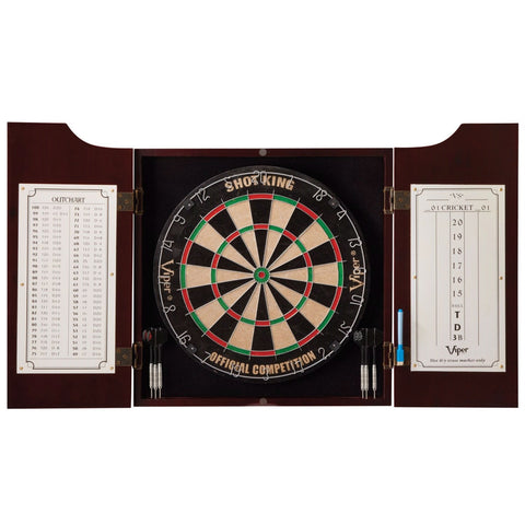 All-in-One Dart Center with Dart Board and Mahogany Finish Cabinet-Game Room > Dart Boards-Loluxe