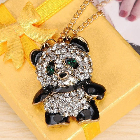 Alloy Cute Full Crystal Panda Pendant Long Necklace Sweater Chain-Loluxe