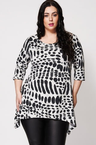 Animal Print Hanky Hem Top-Plus Sizes-Loluxe