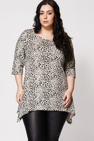Animal Spot Hanky Hem Top-Plus Sizes-Loluxe
