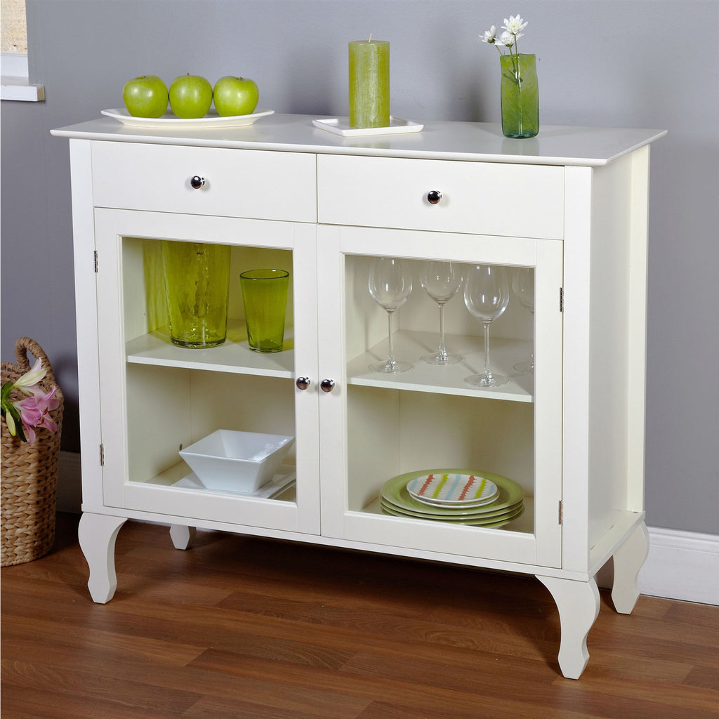 antique white sideboard buffet console table with glass doors – loluxe - antique white sideboard buffet console table with glass doorsdining sideboards  buffets