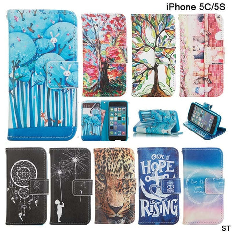 Artsy Painting Designer PU Leather Wallet Cellphone Case for Apple iPhone 5 - 17 Designs-Loluxe