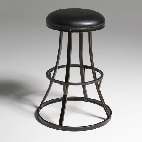 Backless 30-inch Bar Stool with Black Faux Leather Swivel Seat-Dining > Barstools-Loluxe