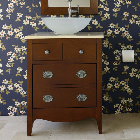 Bathroom Vanity in Cherry - Sink and Marble Top Not Included-Bathroom > Bathroom Vanities-Loluxe