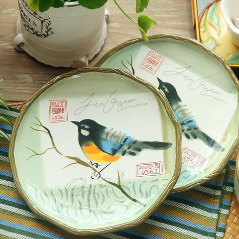 "Beautiful 8"" Hand Painted Bird Design Plates (2 Plates)-Loluxe"