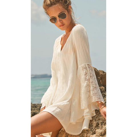 Beautiful Casual Lace Bell-Sleeve V-Neck Cotton Beach Cover Up One Size-Loluxe