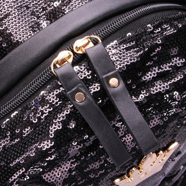 Beautiful Crown Sequin Quality PU Leather Large-Capacity Backpack 3 Colors-backpack bookbag-Loluxe