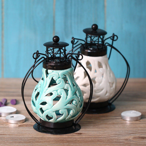 Beautiful Elegant High-Quality Ceramic Floral Iron Lantern-Style Candle Holder Light 2 Colors-Loluxe