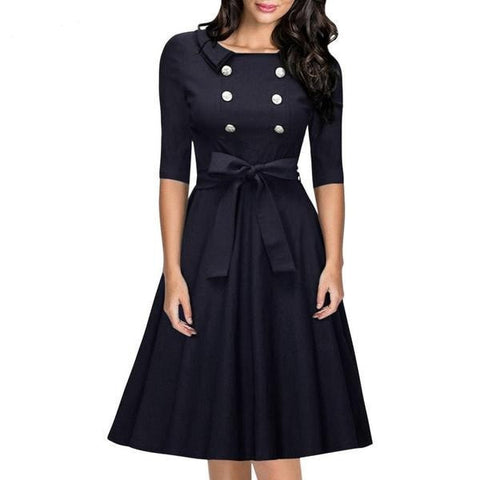 Beautiful Elegant Vintage-Style Half-Sleeve Button-Accent Belted Dress S-2XL-Loluxe