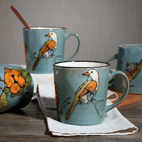 Beautiful Hand-Painted Ceramic Large Coffee Mugs 3 Styles-Loluxe