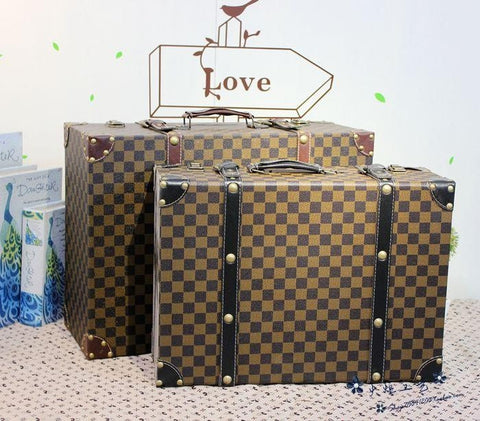 Beautiful Nice Size Luxury Vintage Style Plaid Print Fashion Suitcase Storage Boxes 3 Sizes-Loluxe
