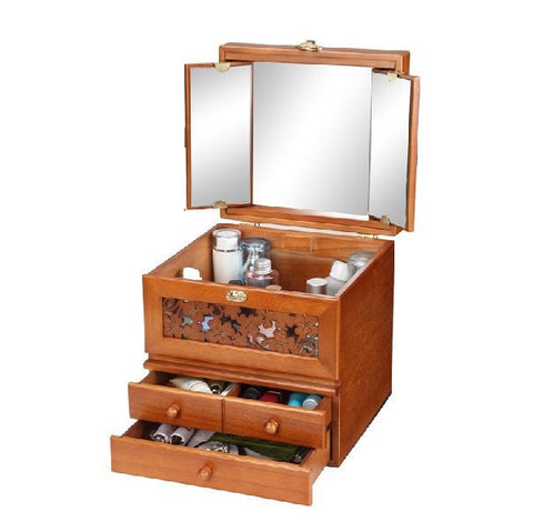 Beautiful Unique Large Solid Wood Carved Dressing Cosmetic Storage Box w/ Foldable 3-Way Mirror-Accents > Storage Cabinets-Loluxe