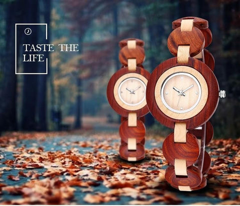 BEWELL Luxury Natural Sandal Wood Watch-Loluxe